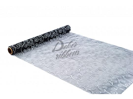 Organza se stříbrnými ornamenty 36 cm