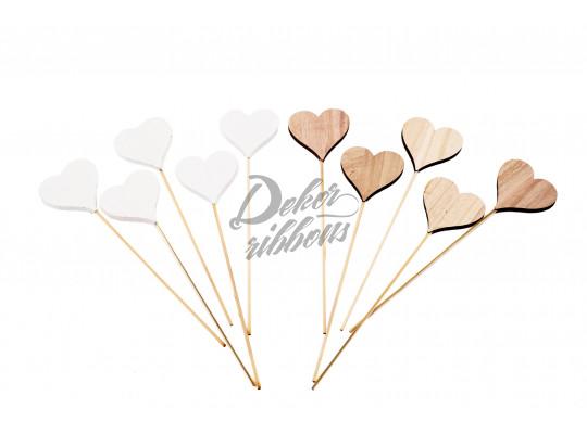 Dřevěné srdce - plné 7 cm, 10 ks