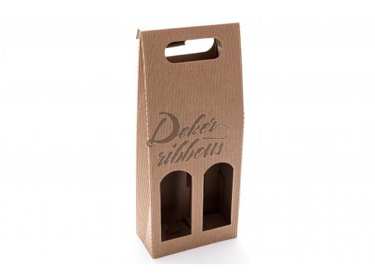 Dárková krabice na dvě láhve vína, s uchem