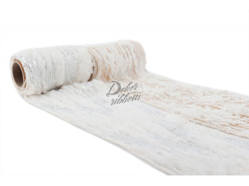Bílý plyš s pajetkami 12 cm