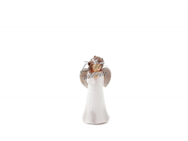 Anděl Bulík s růží 14 cm