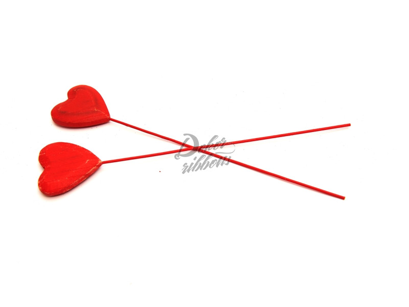 dřevěné srdce - zapichovací dekorace
