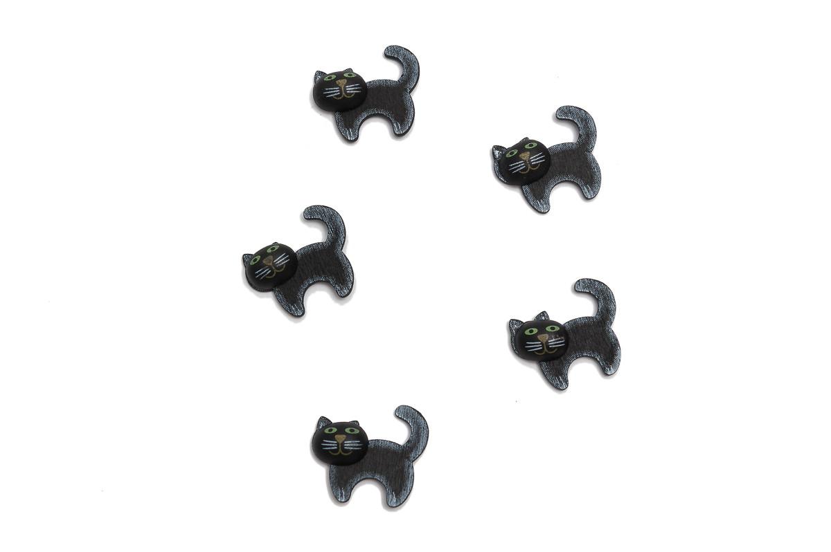 Černá kočka, samolepka, 12 ks