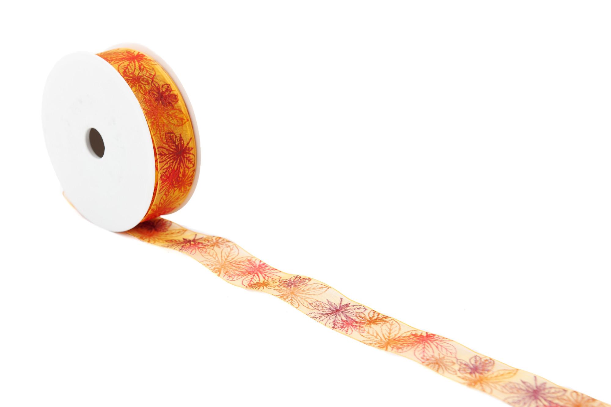 Podzimní stuha s listy 25 mm, 25 m - oranžová