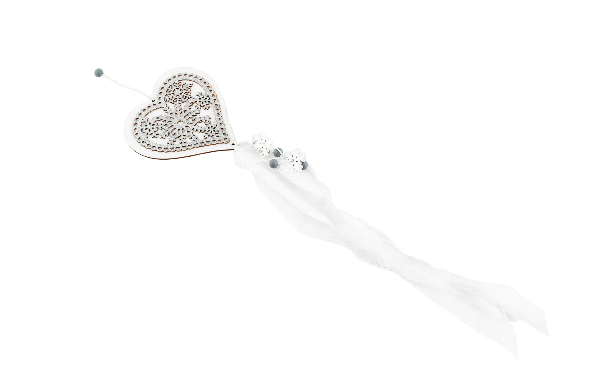Srdce - závěs se stříbrným zdobením