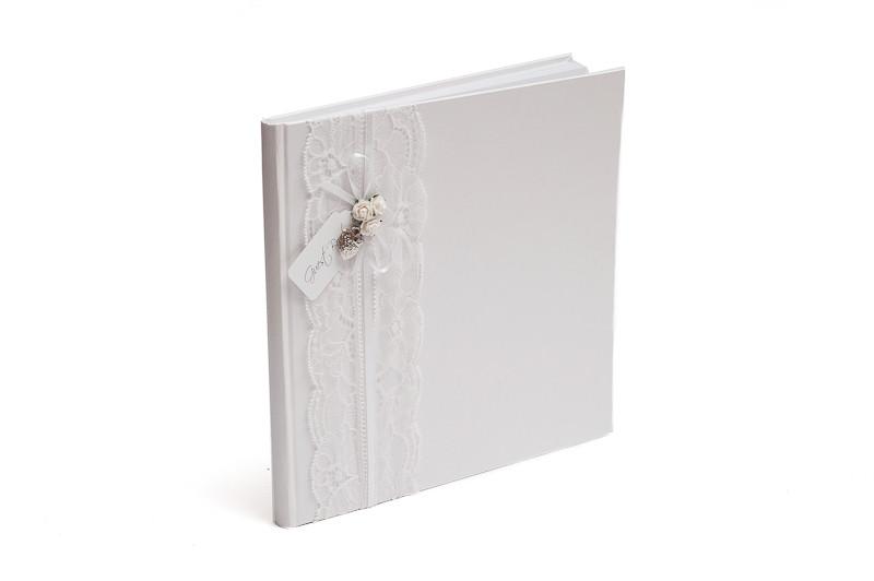 Kniha hostů s bílou krajkou