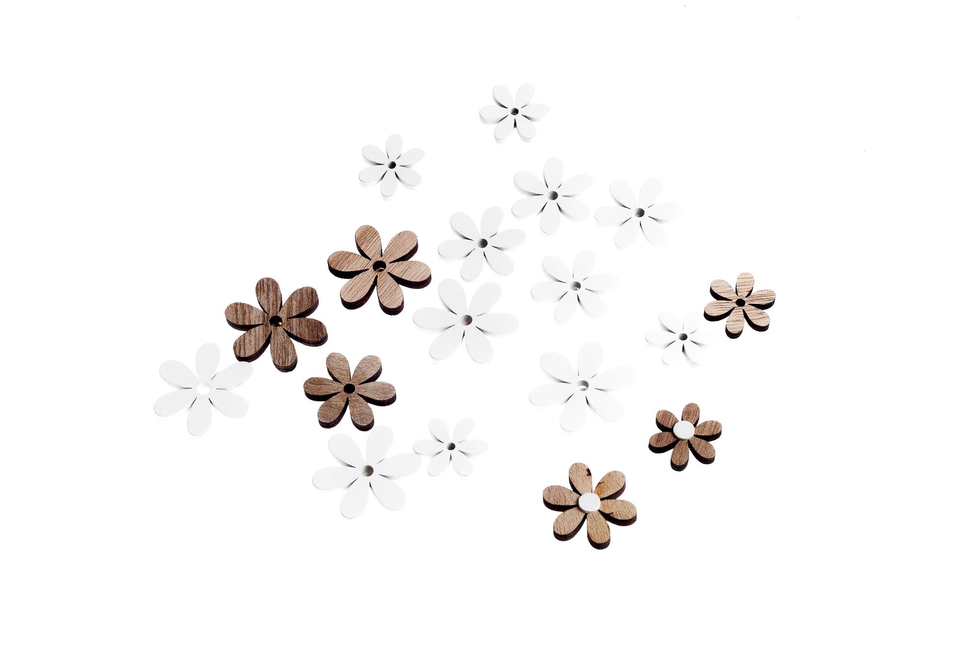 Dřevěné květinky, 18 ks