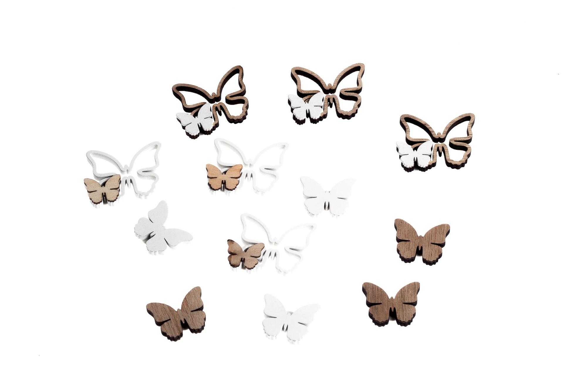 Dřevěné nálepky - motýlci, 12 ks