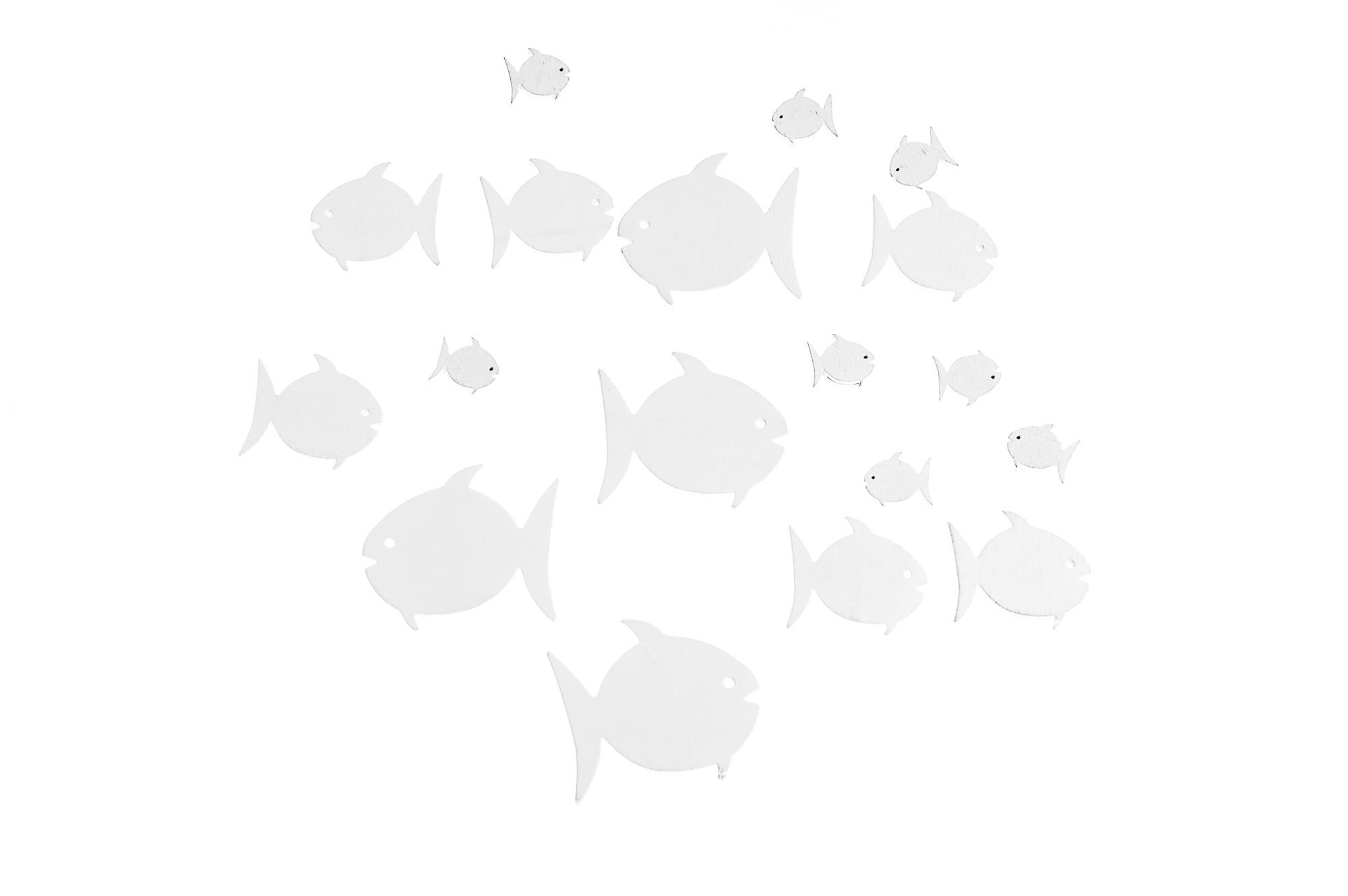 Rybičky, dřevěná dekorace, 18 ks