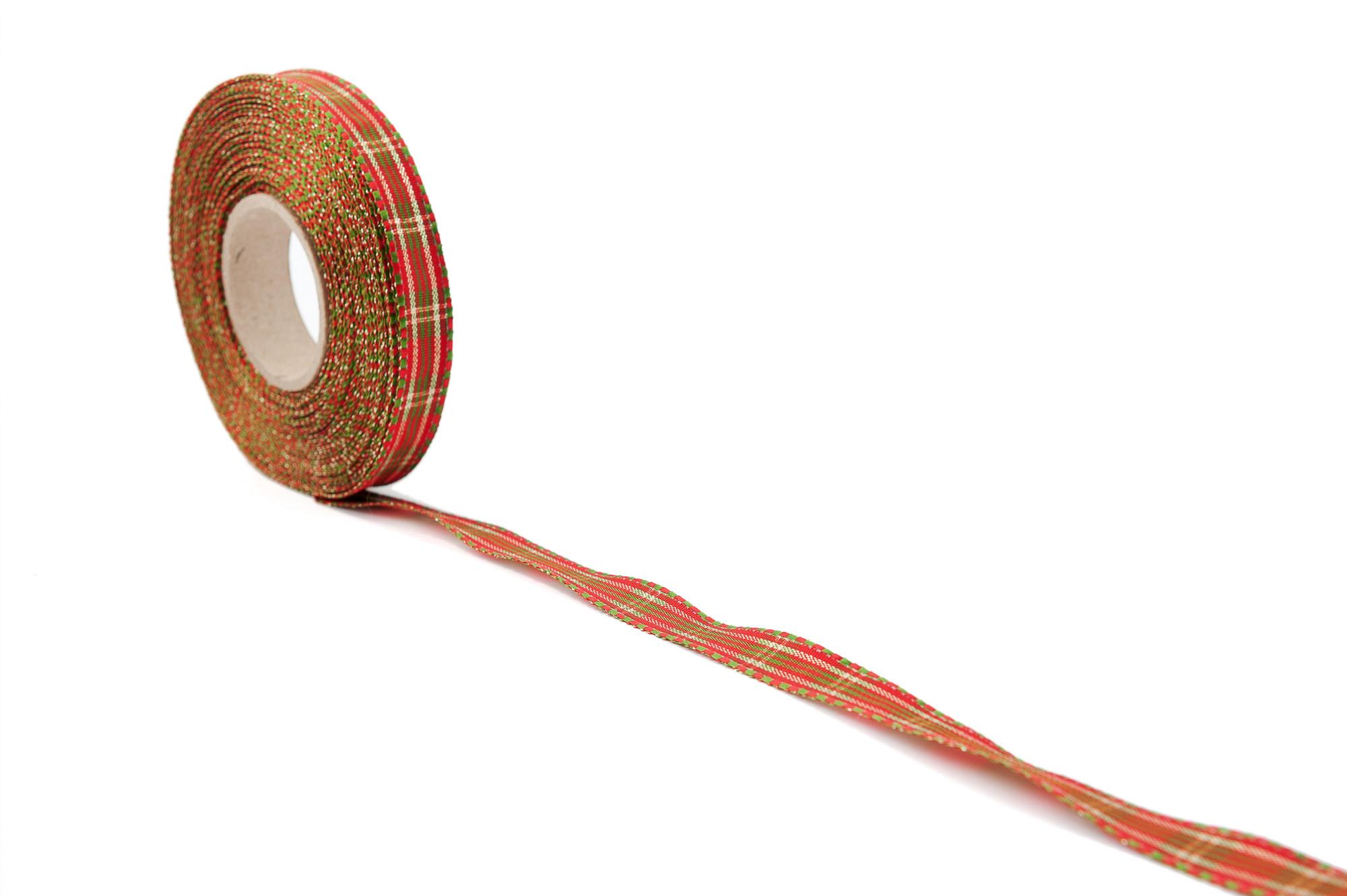 Stuha kostka s lesklými proužky, 15 mm, 25 m