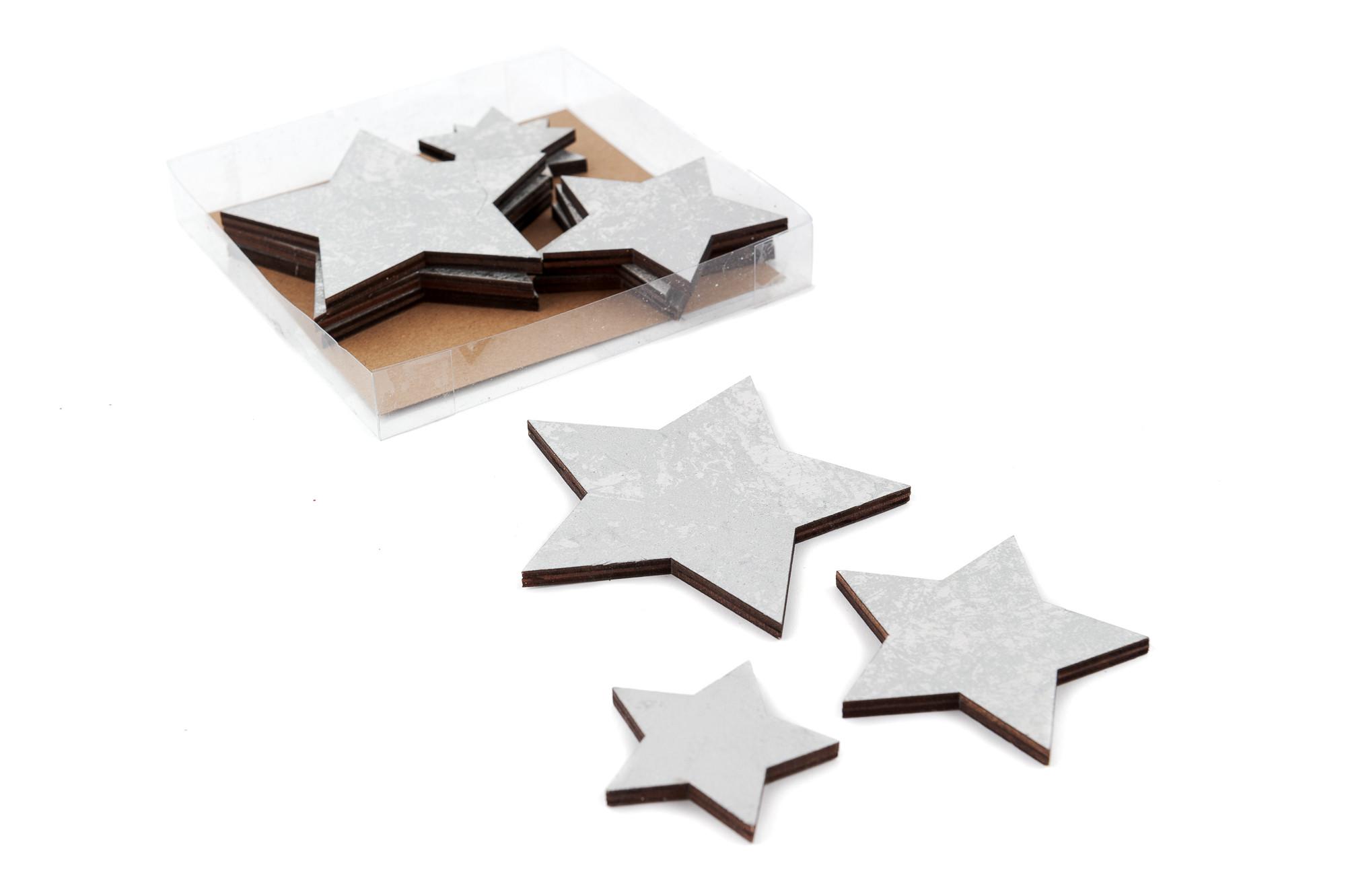Dřevěné hvězdy  MIX, 12 ks