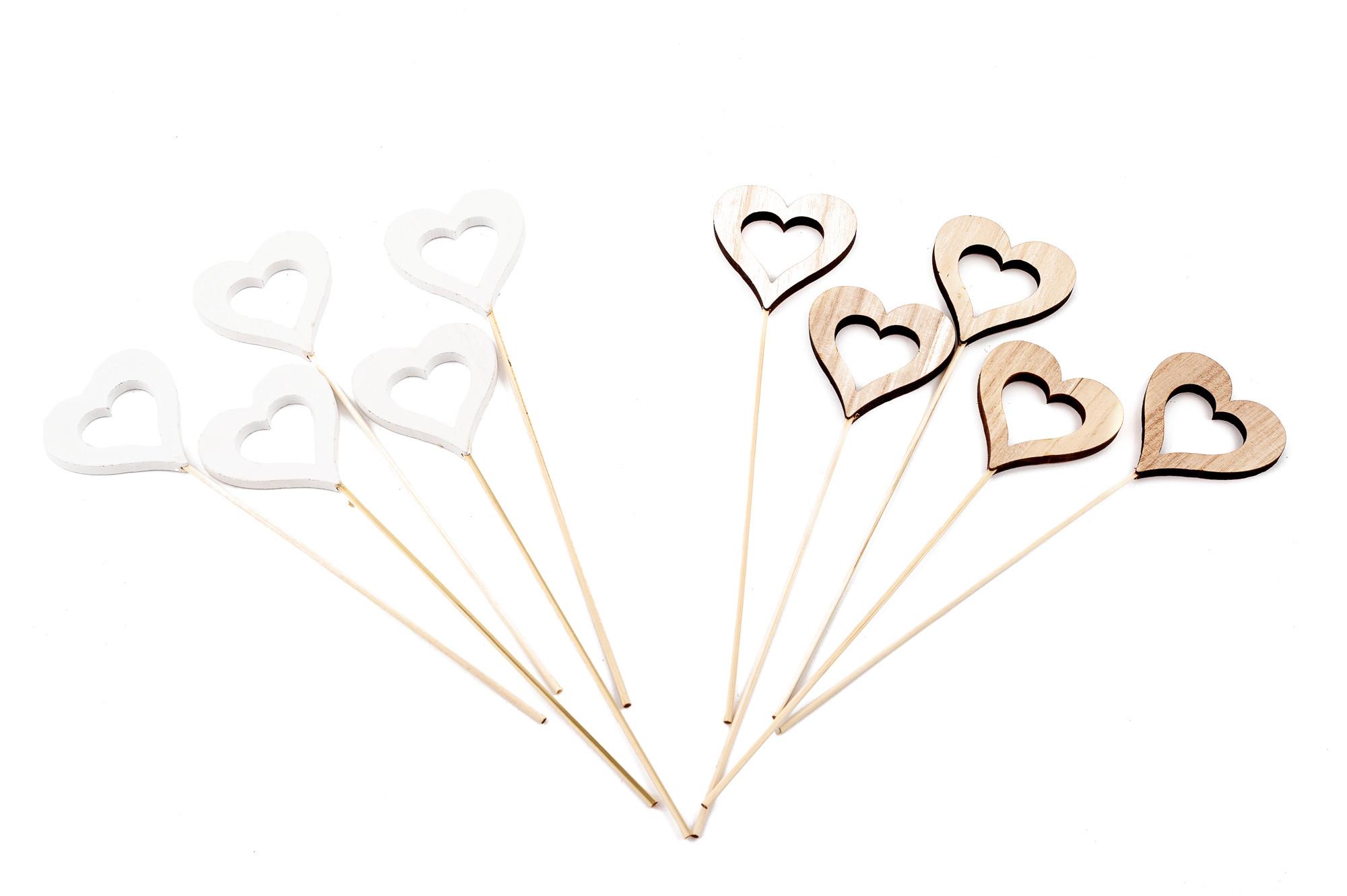 Dřevěné srdce  6 cm, 10 ks