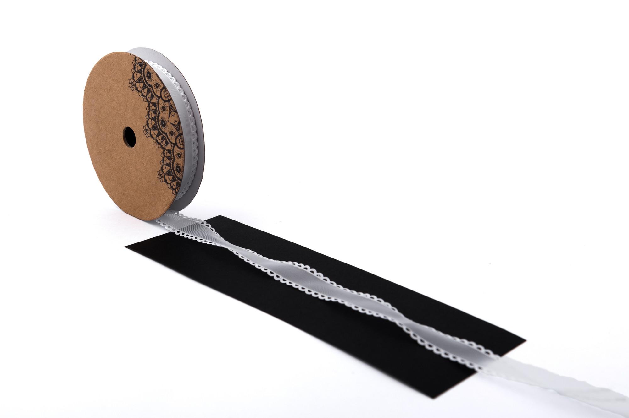 Stuha šifón s ozdobným lemováním 15 mm, 9 m