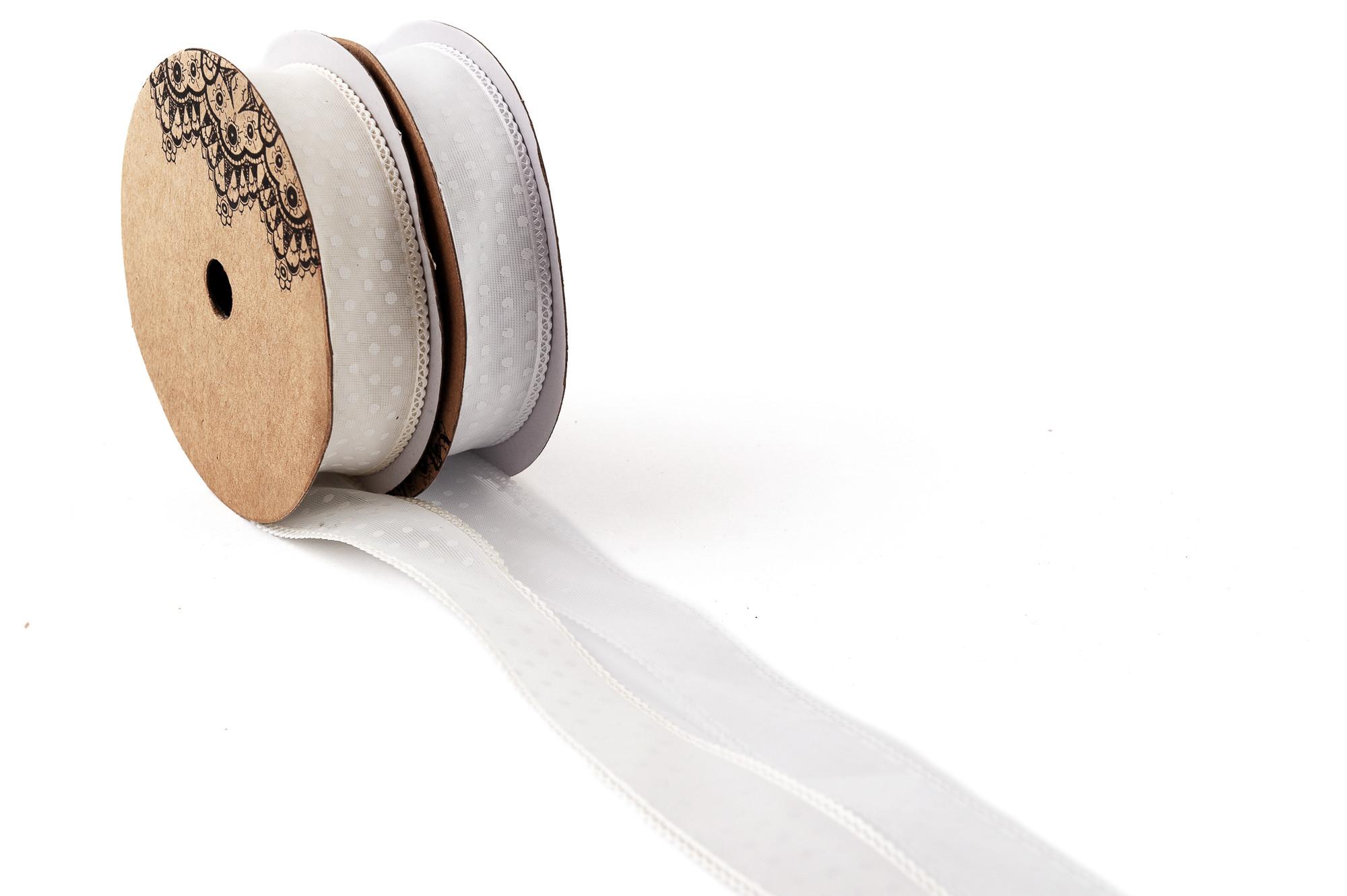 Stuha s ozdobným lemováním a puntíky 25 mm, 9 m