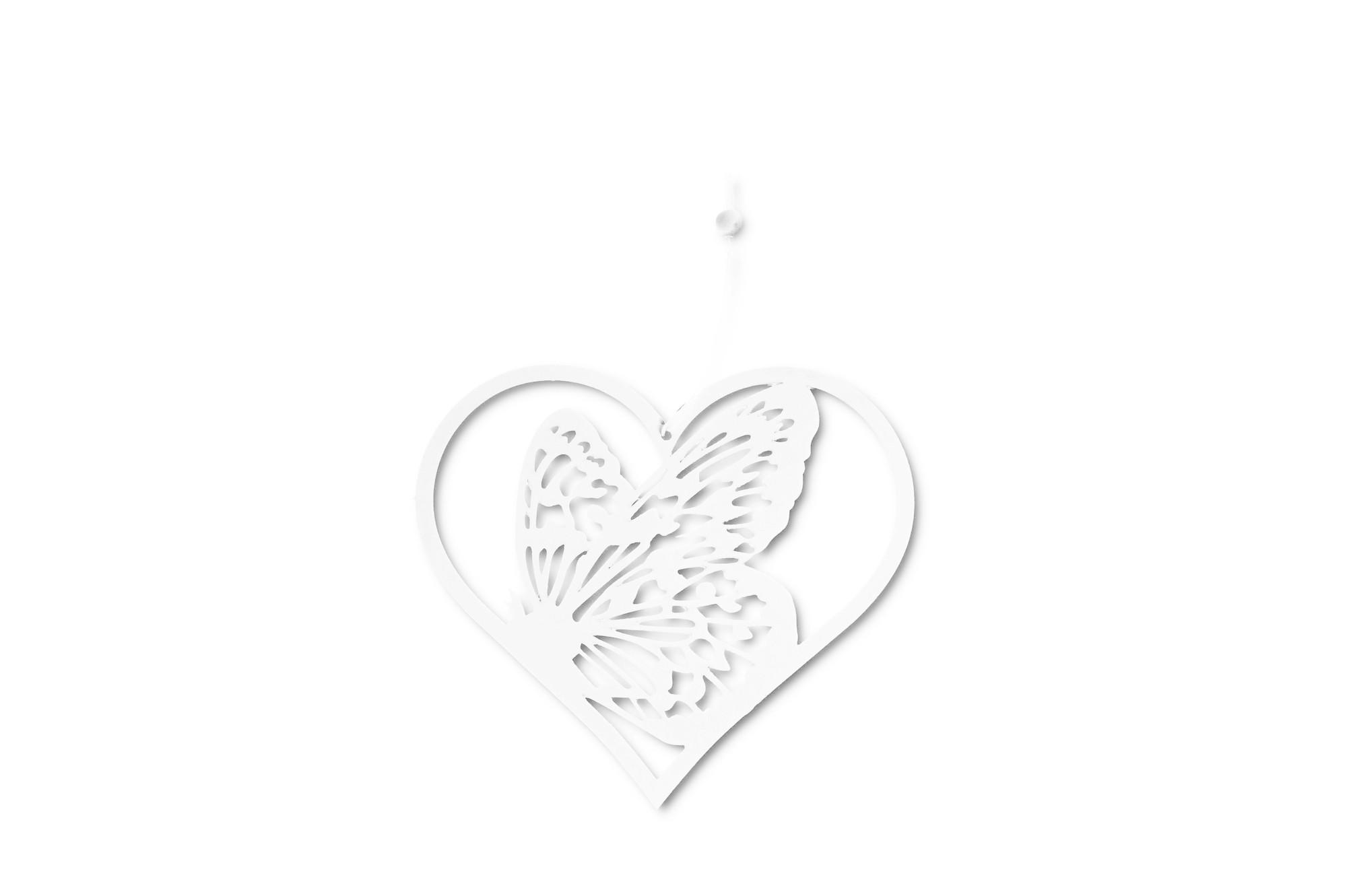 Srdce s motýlem 15 cm