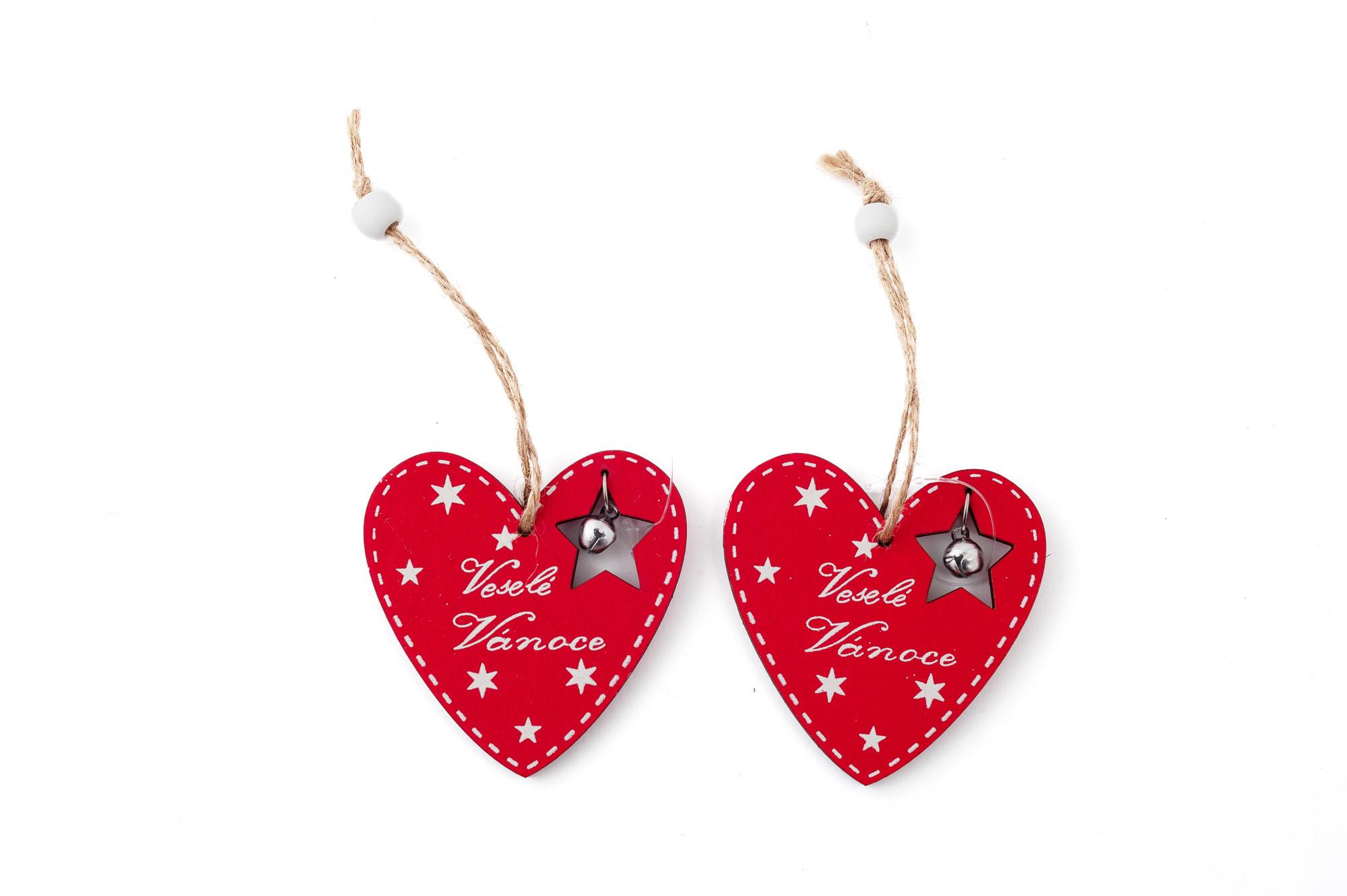 Srdce Veselé Vánoce, 7 cm