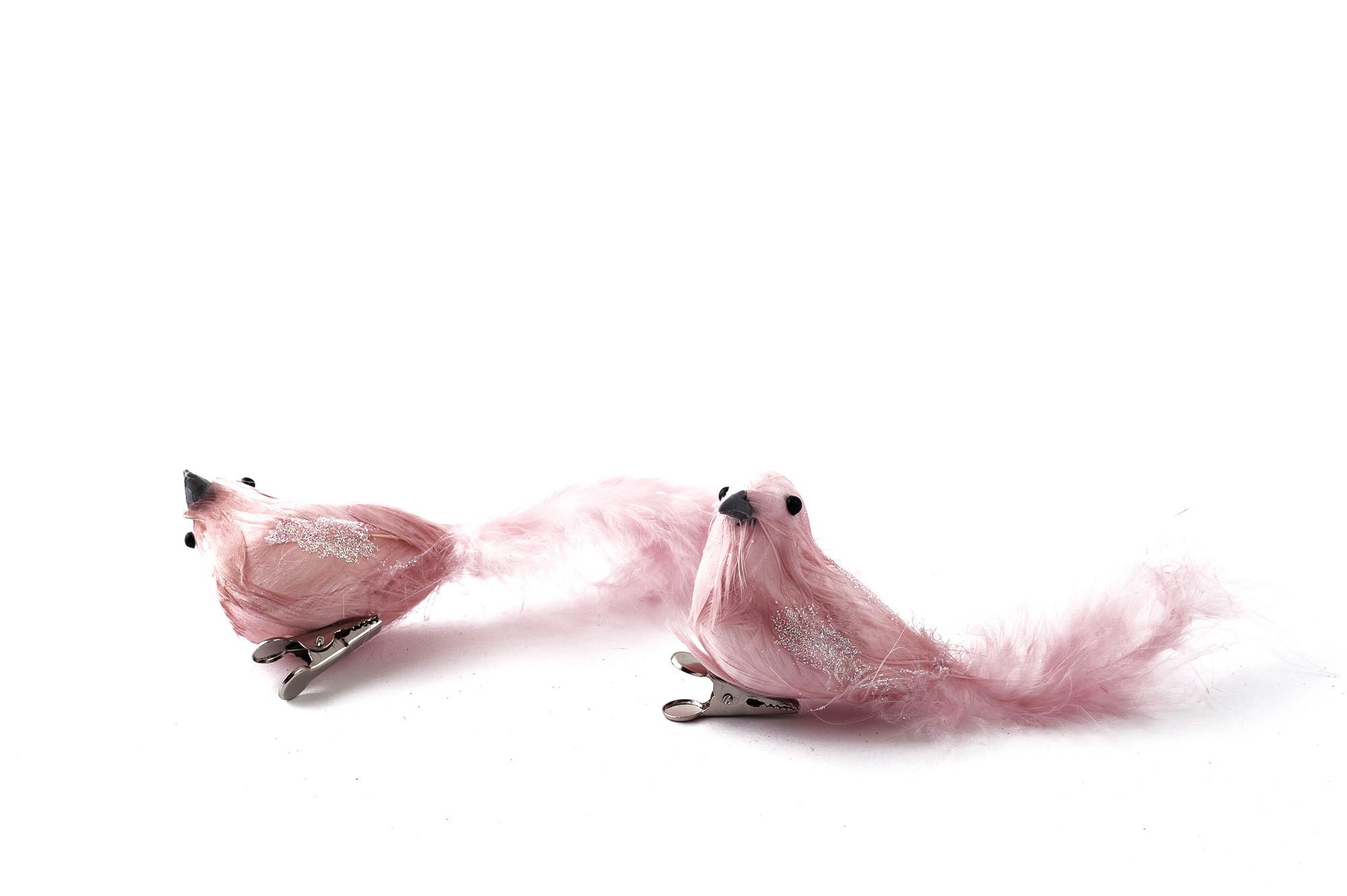 Ptáček, na klipu, 2 ks - starorůžová