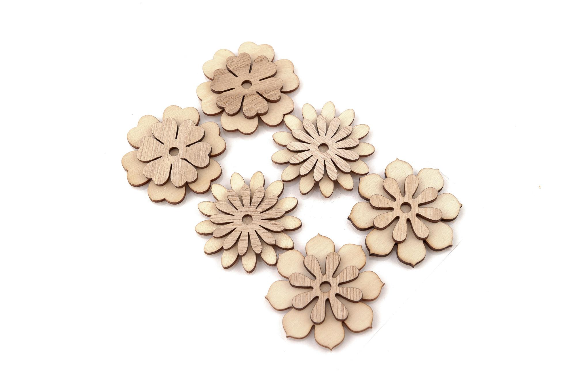 Dřevěné květy 4,5 cm