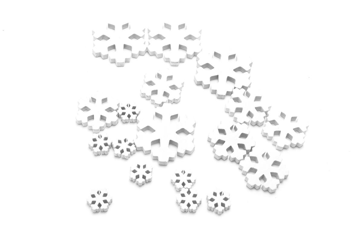 Sněhové vločky - dřevěné, 18 ks