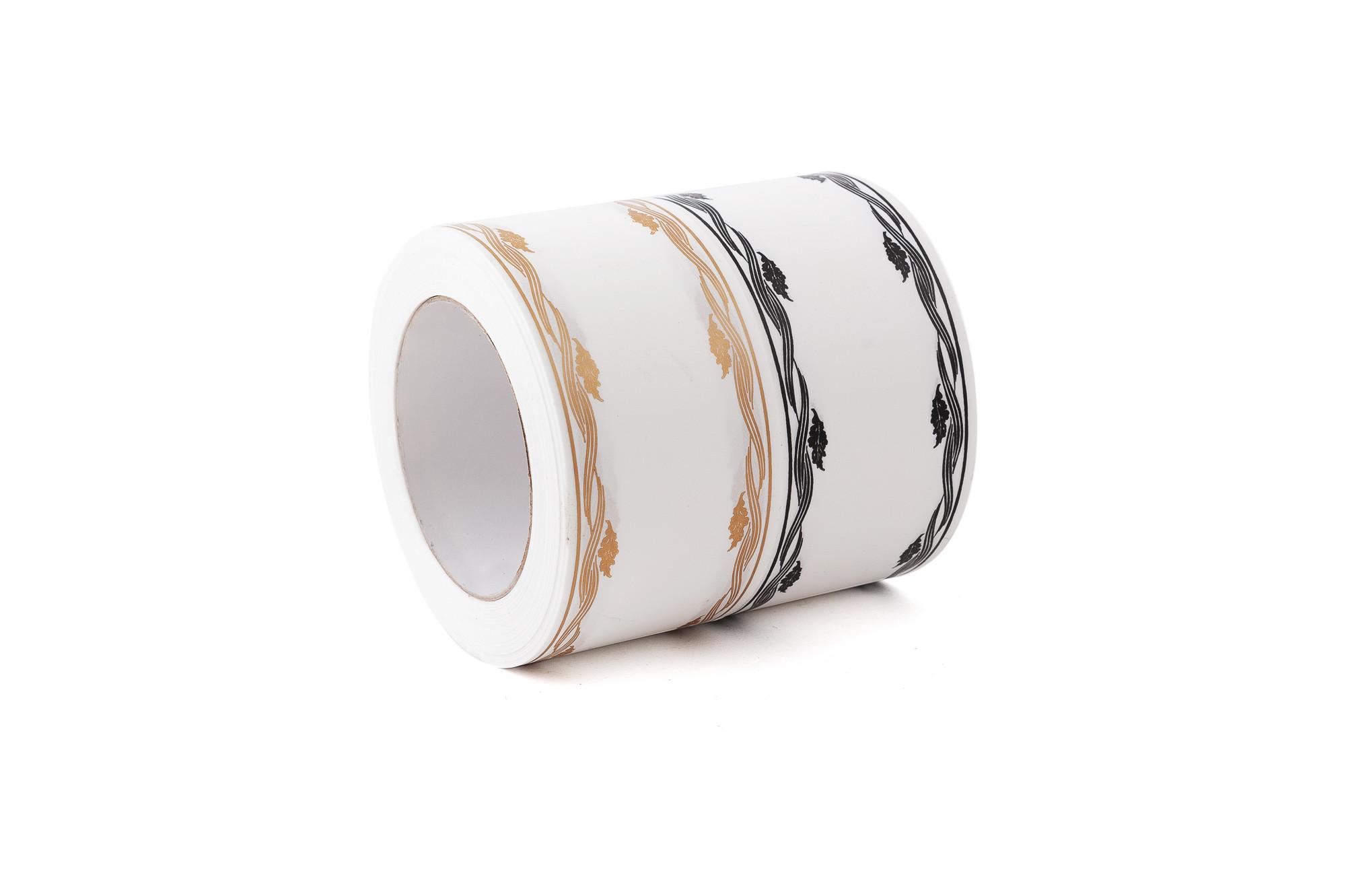 Stuha smuteční 6 cm, vlnky s lístky - bílá