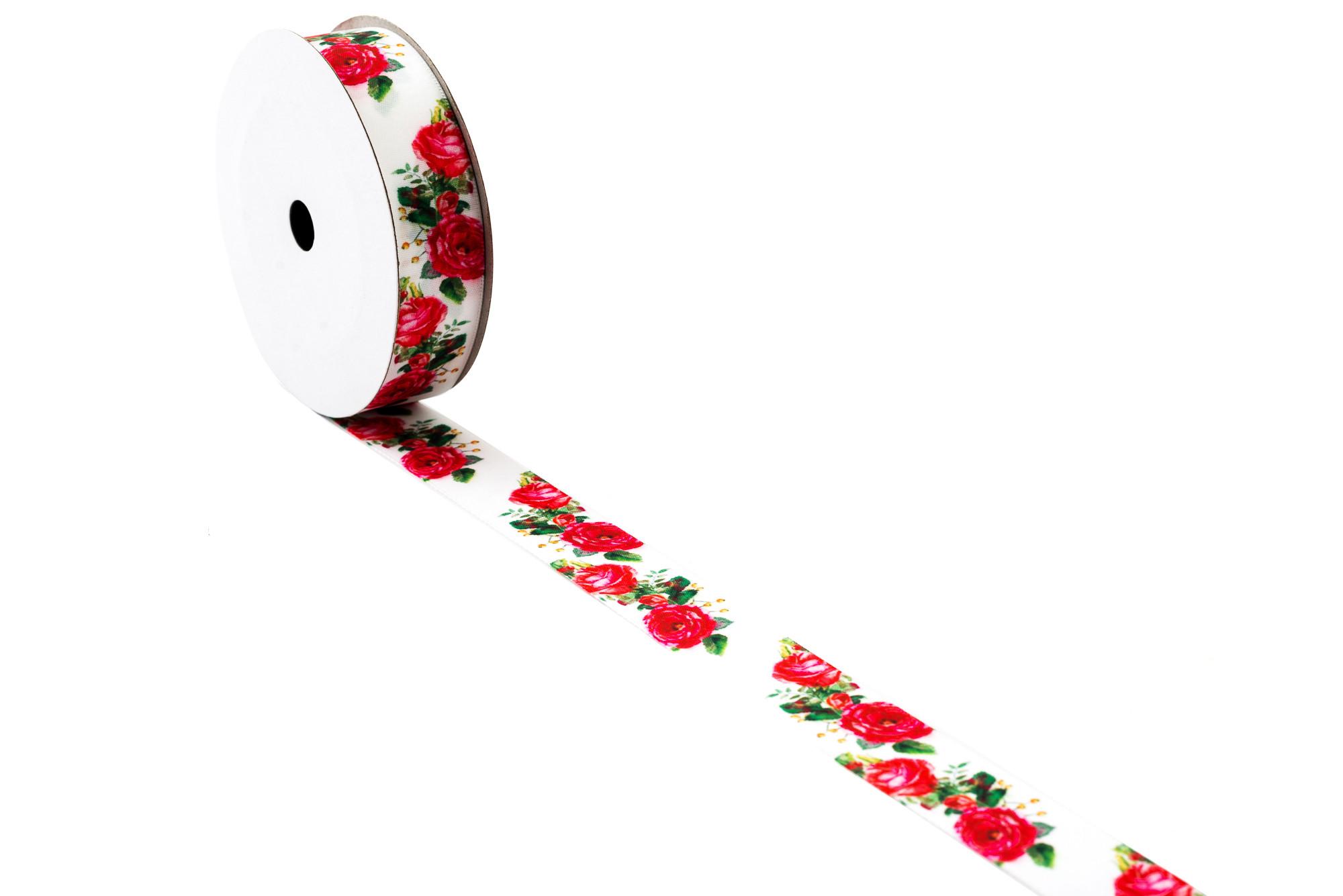 Stuha Růže 2,5 cm, 9 m