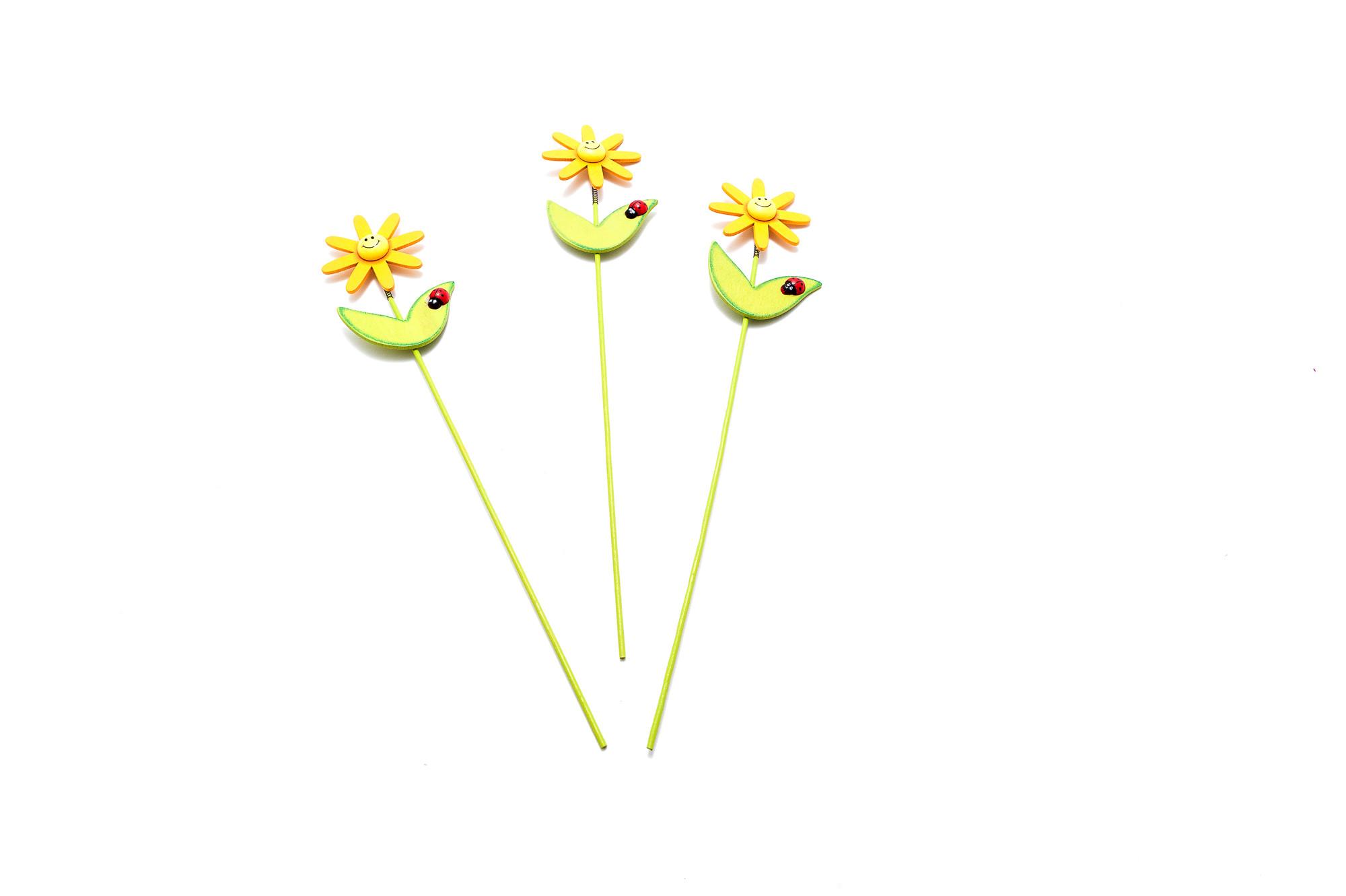 Sluníčko - dřevěný zápich, 10 ks