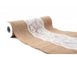 Jutový pás s krajkou 28 cm, 2,75 m